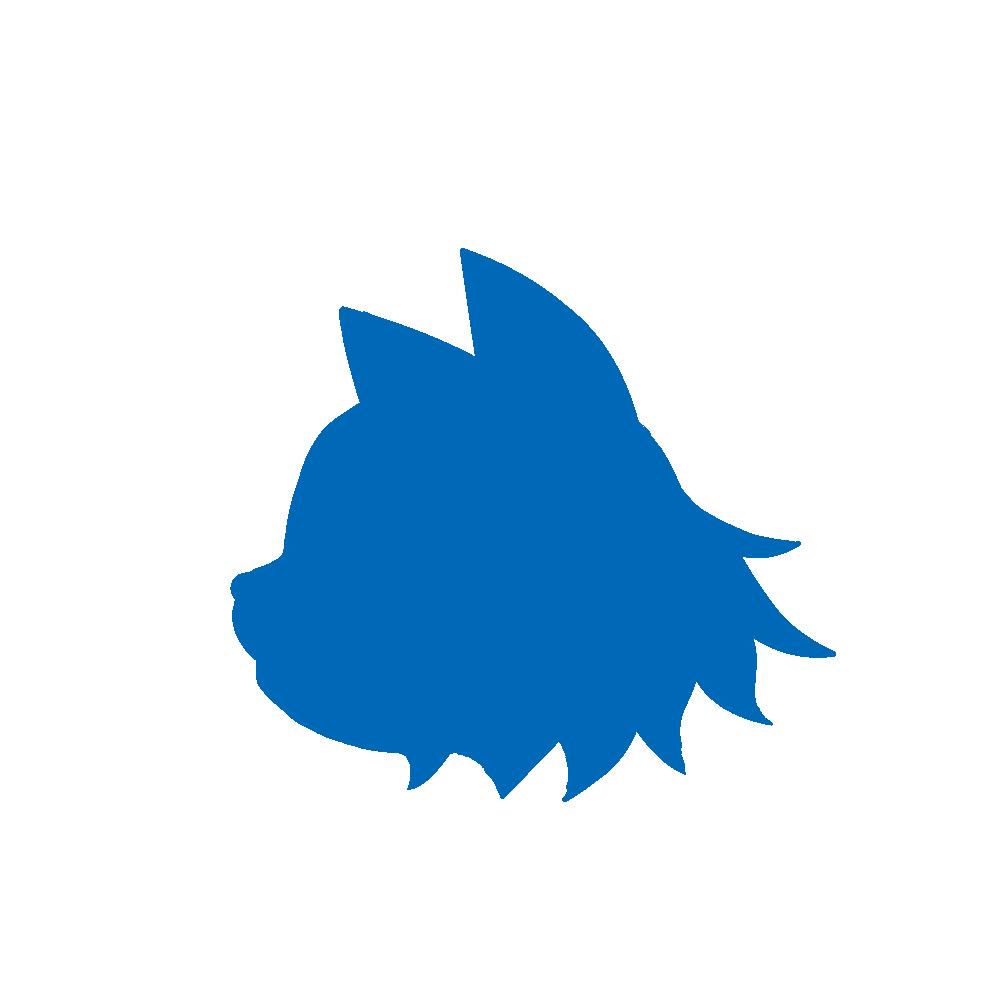 顔シルエット横顔2ブルー