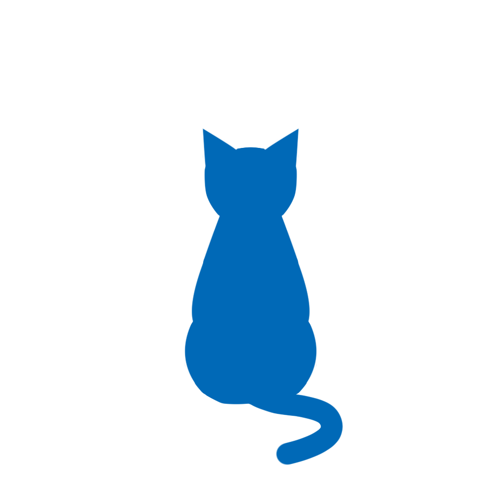 全身シルエットおすわり猫2ブルー