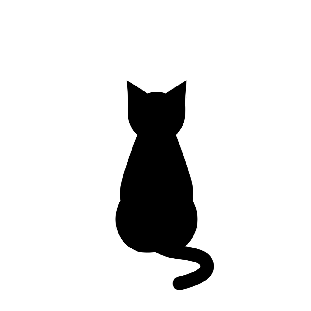 全身シルエットおすわり猫2ブラック