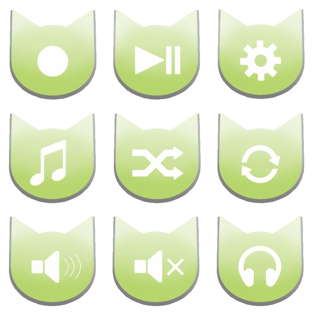 アイコンボタンセット2パステルグリーン