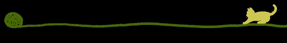 毛糸とじゃれる猫のライングリーン