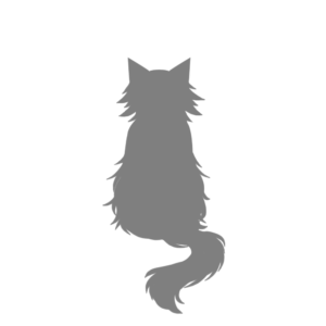全身シルエットおすわり猫3グレー