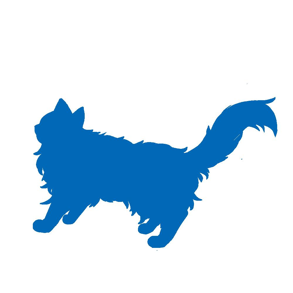全身シルエット歩く猫3ブルー