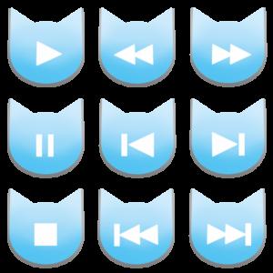 アイコンボタンセット1パステルブルー-cat icon button pastel blue-