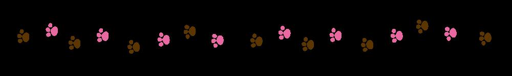 猫の足跡ラインブラウン×ピンク-Cat footprint Line material brown pink-