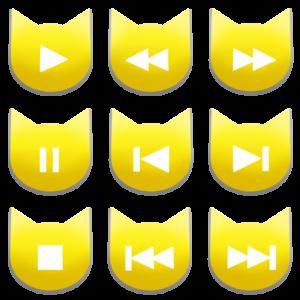 アイコンボタンセット1イエロー-cat icon button yellow-