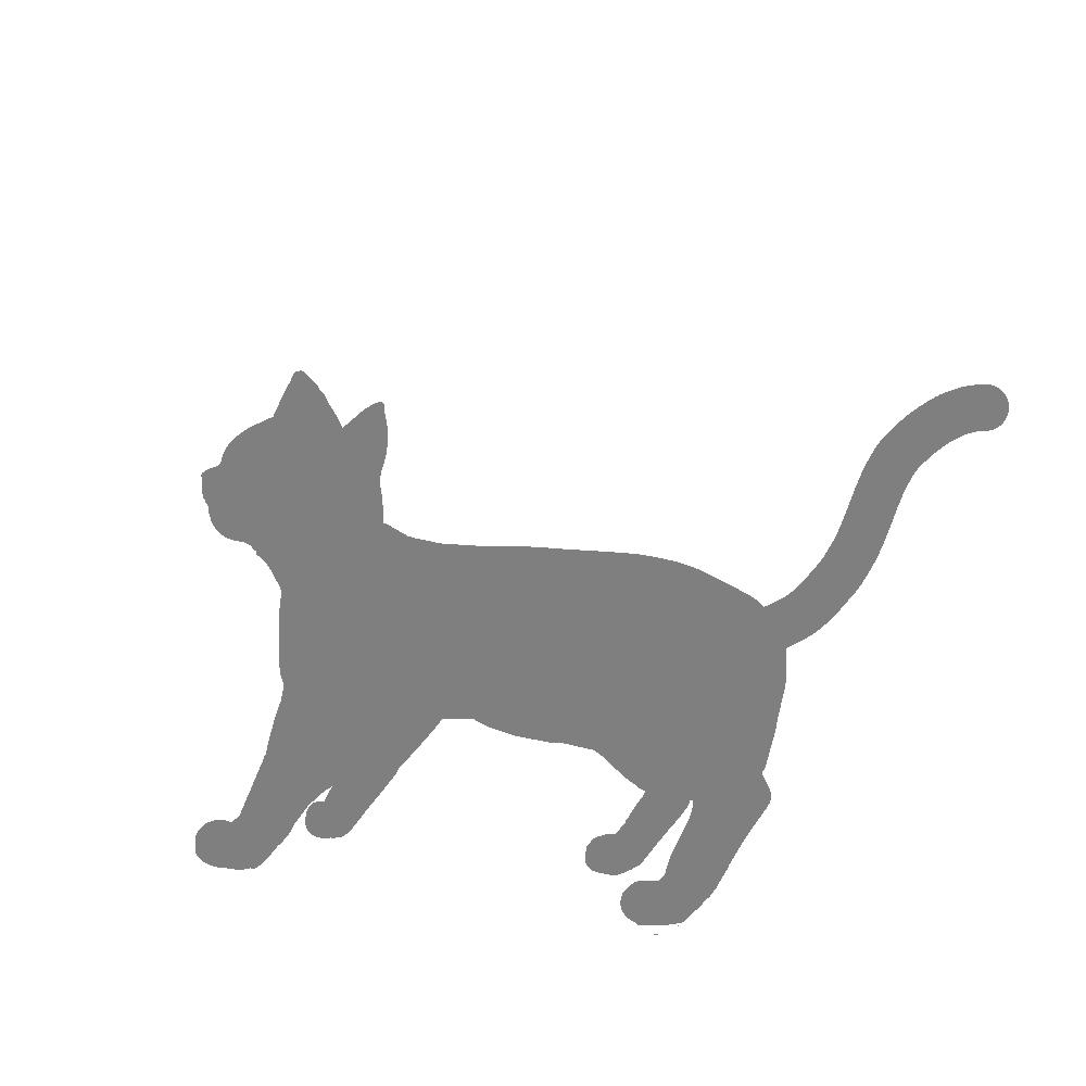 全身シルエット歩く猫2グレー