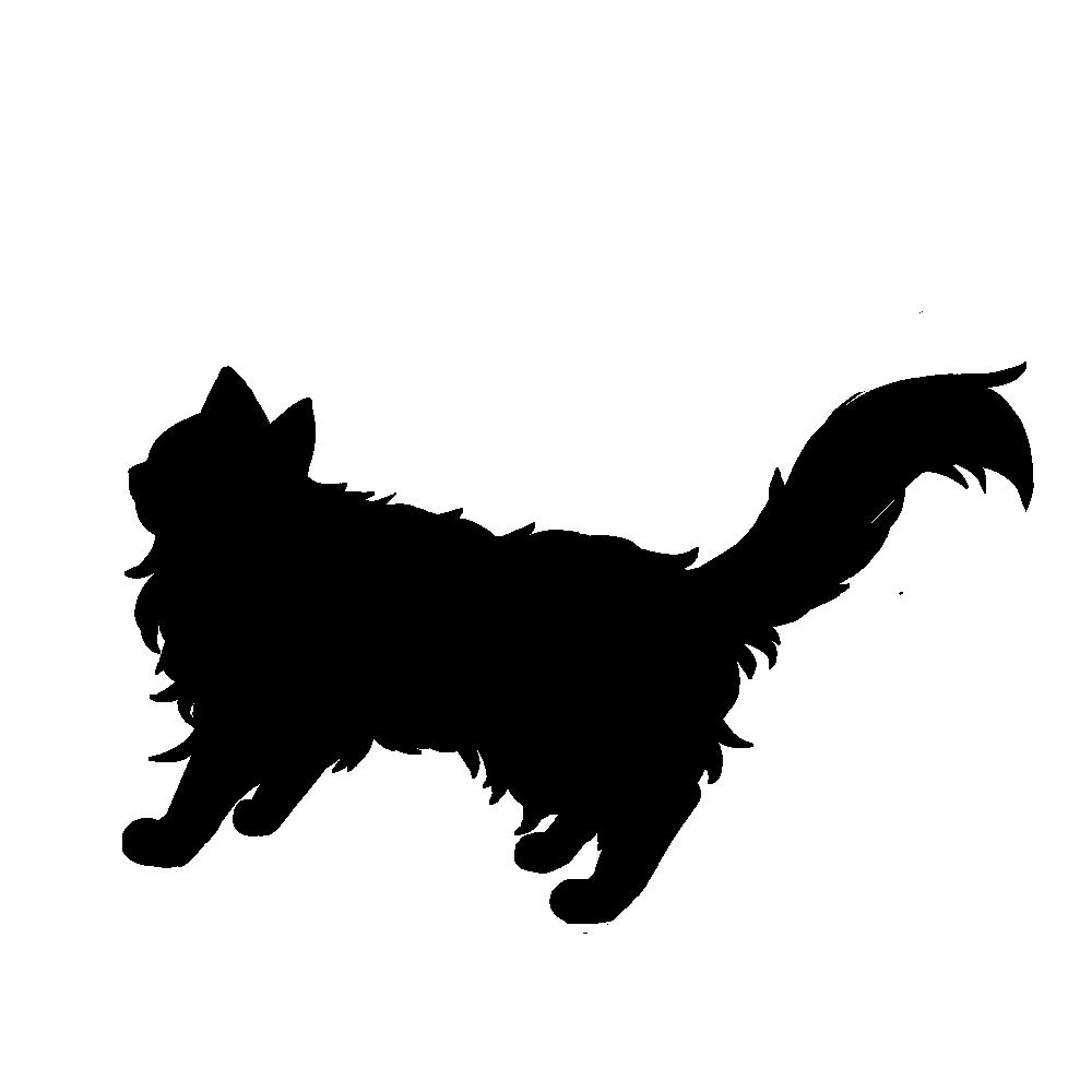 全身シルエット歩く猫3ブラック