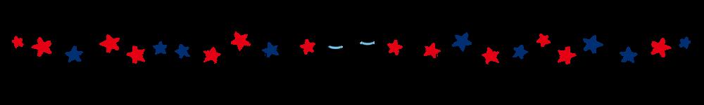 星と2匹の猫のラインレッド×ブルー