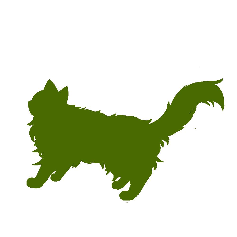 全身シルエット歩く猫3グリーン
