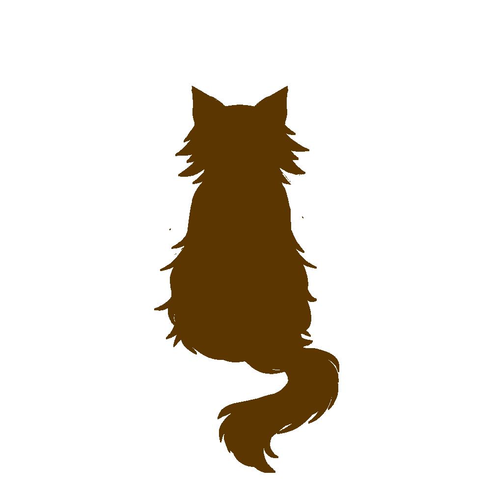 全身シルエットおすわり猫3ブラウン