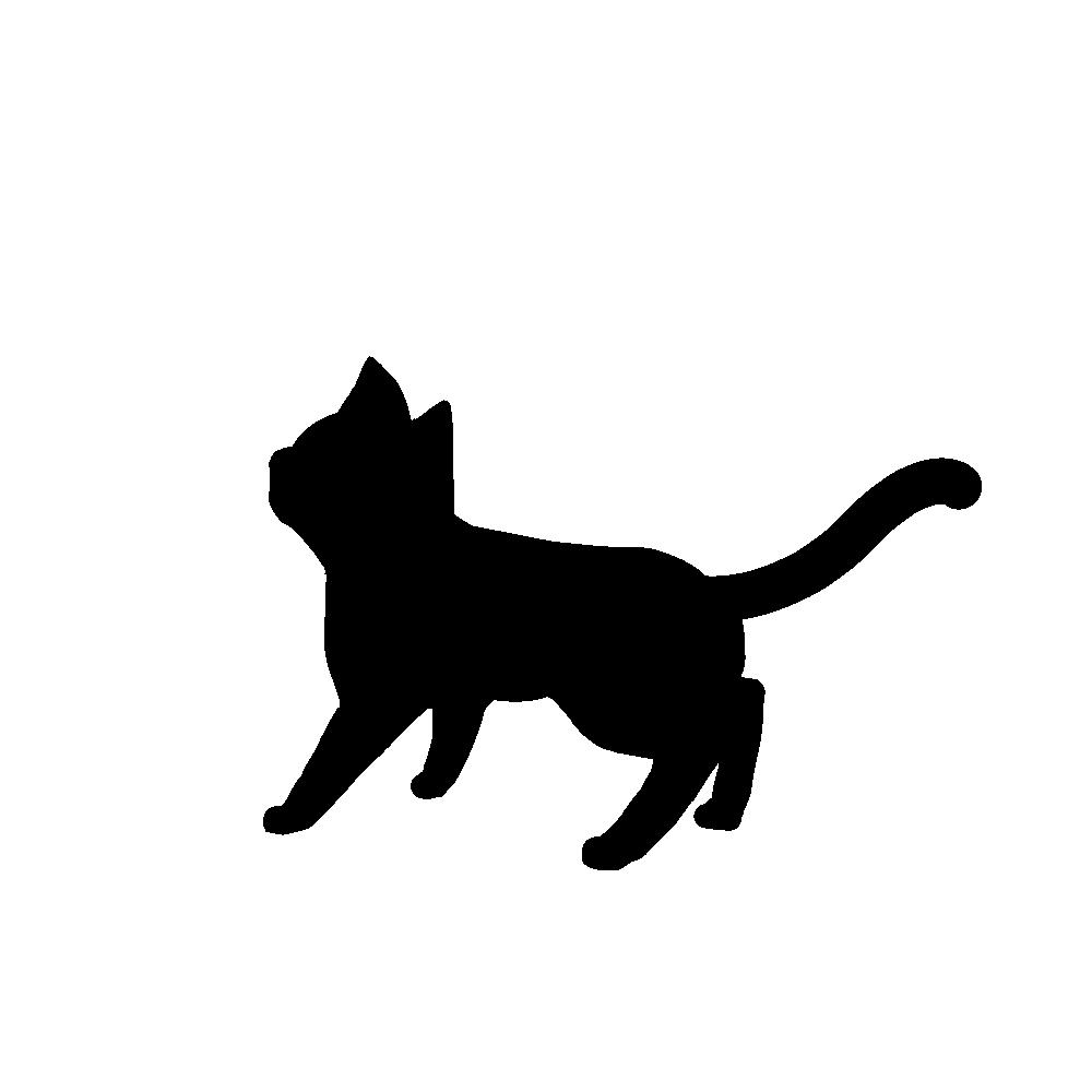 全身シルエット歩く猫1ブラック