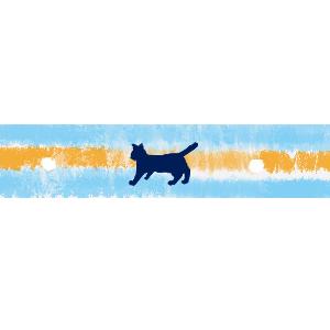 ねこ柄マスキングテープ風ラインサンドイッチカラーブルー×オレンジ300
