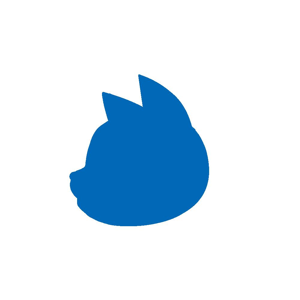顔シルエット横顔1ブルー