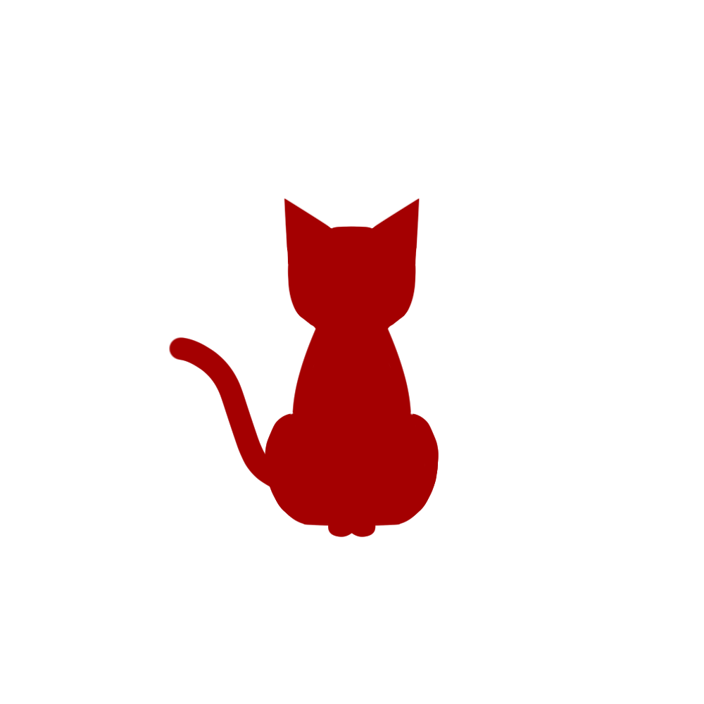 全身シルエットおすわり猫1レッド