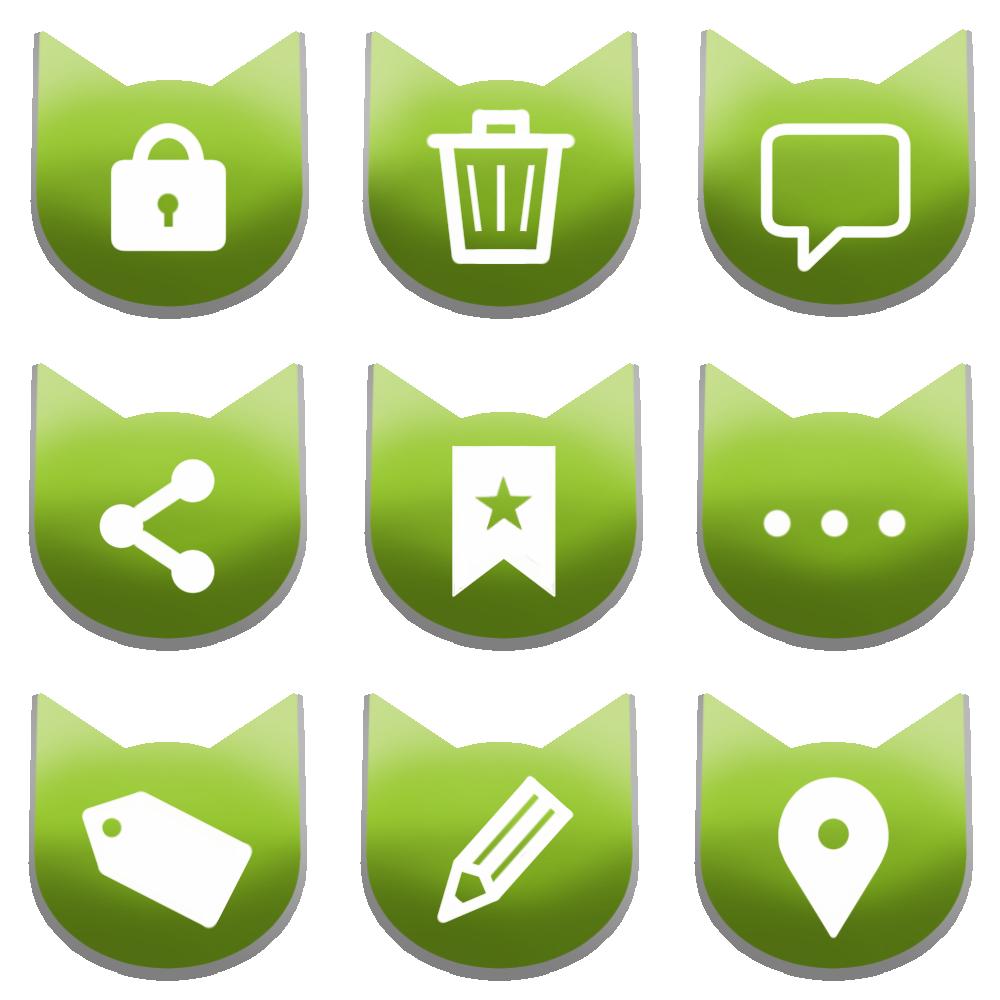 アイコンボタンセット4グリーン