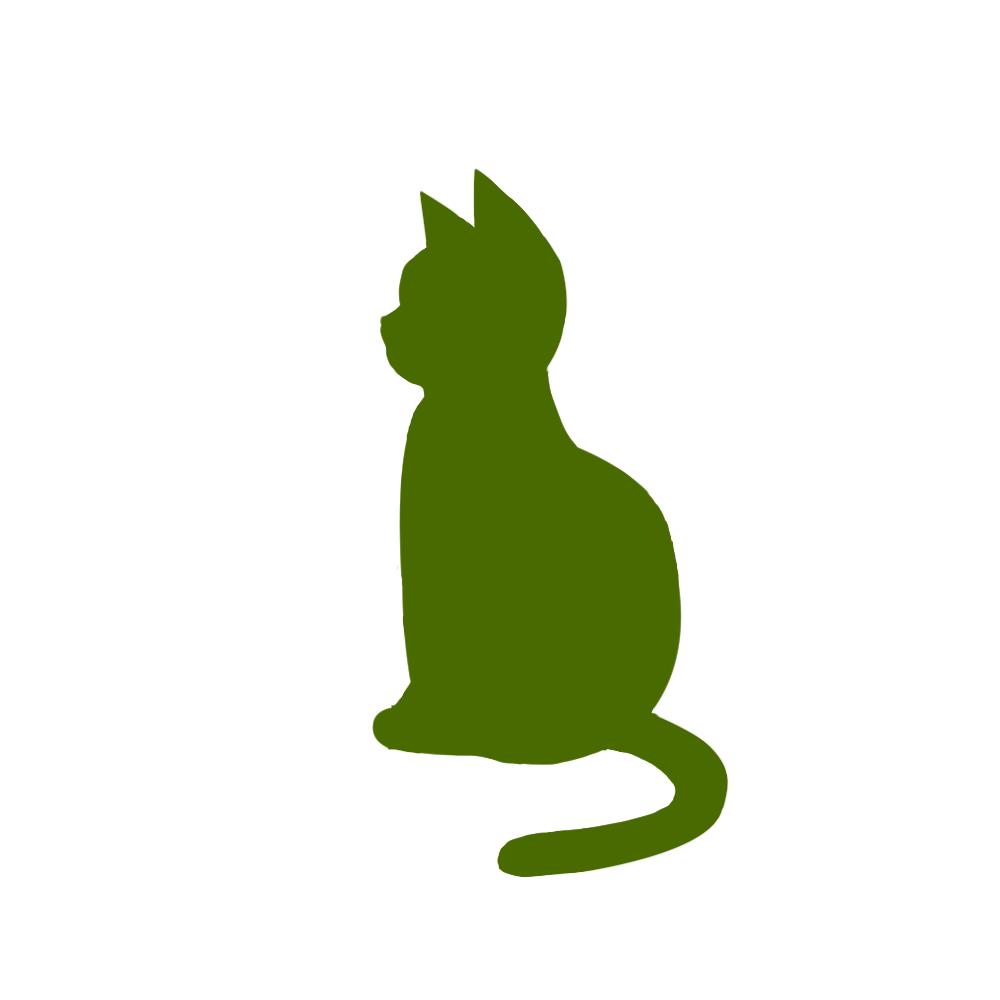 全身シルエットおすわり猫4グリーン