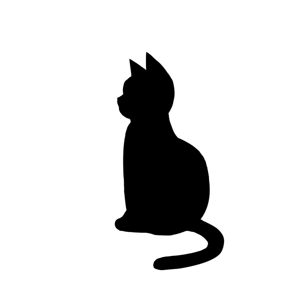 全身シルエットおすわり猫4ブラック