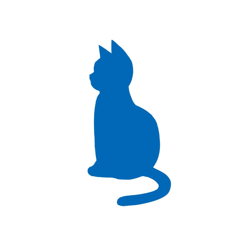 全身シルエットおすわり猫4ブルー