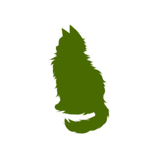 全身シルエットおすわり猫5グリーン-Silhouette illustration of a long cat sitting sideways green5