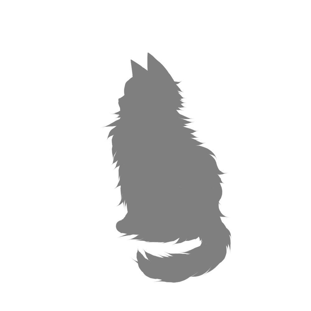 全身シルエットおすわり猫5グレー