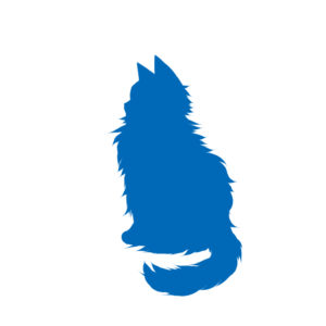 全身シルエットおすわり猫5ブルー-Silhouette illustration of a long cat sitting sideways blue5
