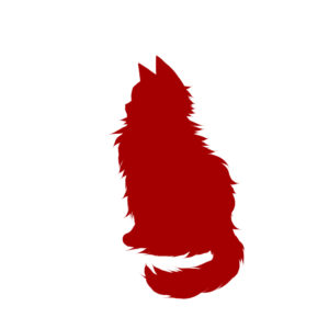 全身シルエットおすわり猫5レッド-Silhouette illustration of a long cat sitting sideways red5