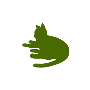 全身シルエット寝そべる猫1グリーン--A silhouette illustration of a lying cat green1
