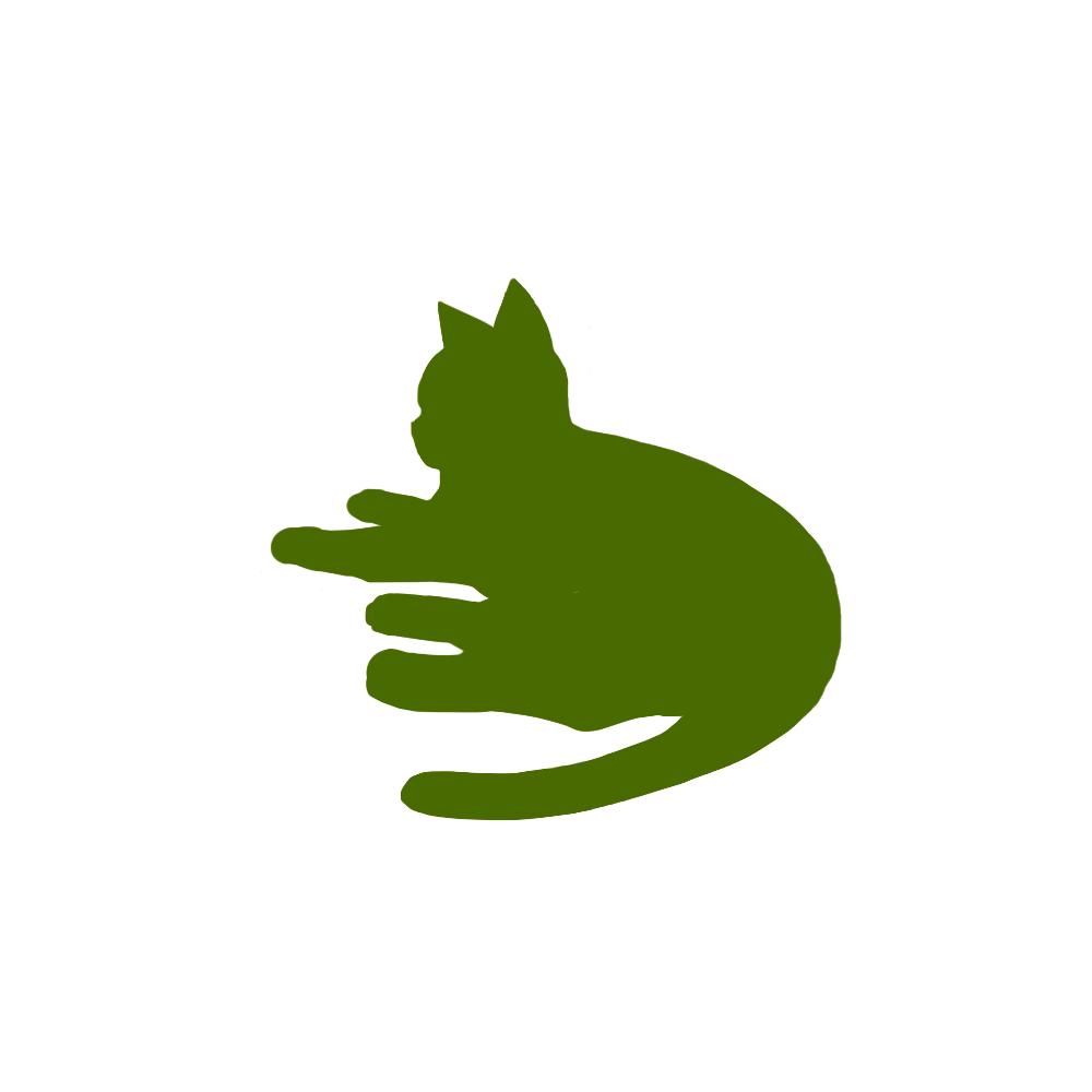 全身シルエット寝そべる猫1グリーン