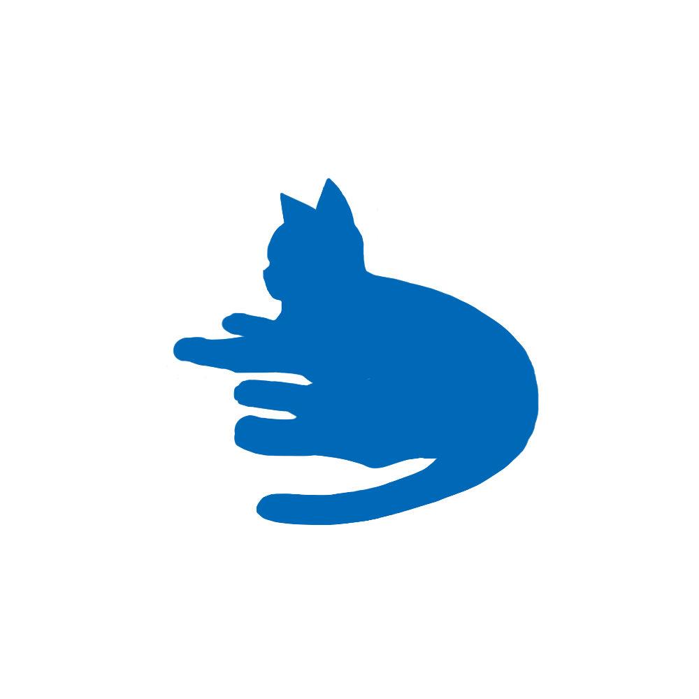 全身シルエット寝そべる猫1ブルー