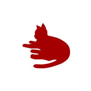 全身シルエット寝そべる猫1レッド-A silhouette illustration of a lying cat red1