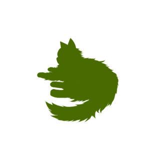 全身シルエット寝そべる猫2グリーン-Laying long hair cat silhouette illustration green2