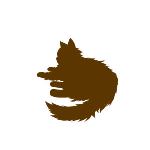 全身シルエット寝そべる猫2ブラウン-Laying long hair cat silhouette illustration brown2