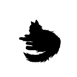全身シルエット寝そべる猫2ブラック-Laying long hair cat silhouette illustration black2