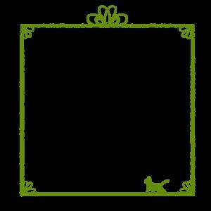 かすれ線と猫の四角フレームグリーン