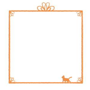 かすれ線と猫の四角フレームオレンジ