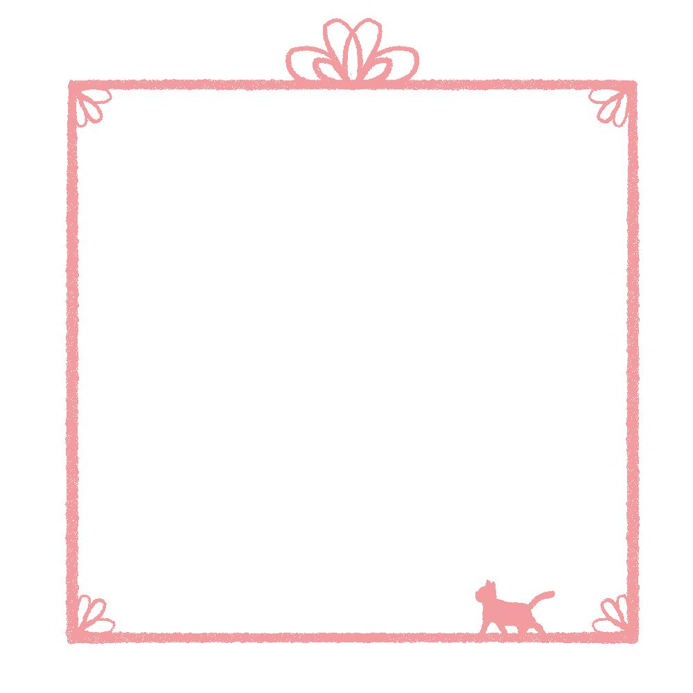 かすれ線と猫の四角フレームピンク