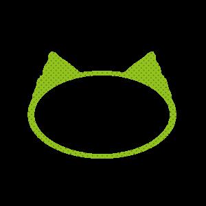 楕円の猫耳フレームグリーン×ブラウンドット-Elliptic cat ear frame Green × Brown dot-