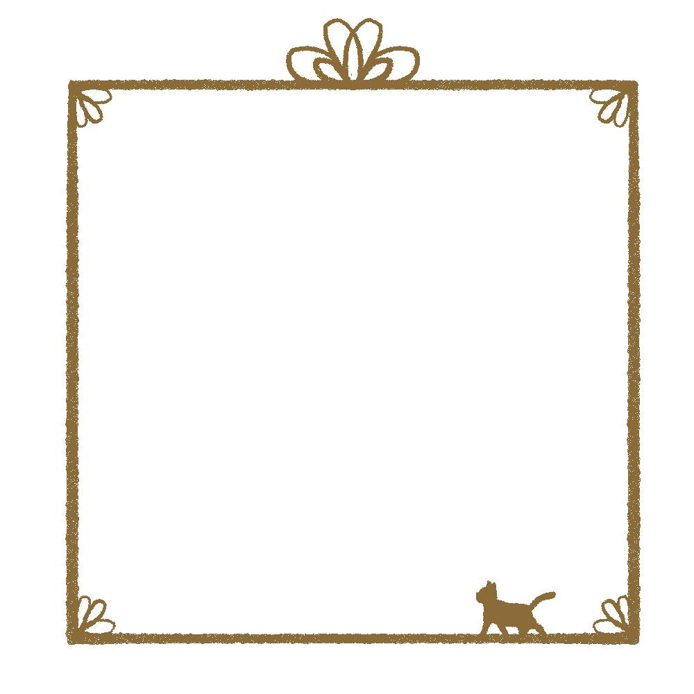 かすれ線と猫の四角フレームブラウン