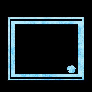 シンプルラインと猫の肉球フレームブルー-Simple line and cat's pad frame blue-