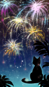 スマホ用壁紙花火と猫-【Wallpaper for smartphone】Fireworks and cats-