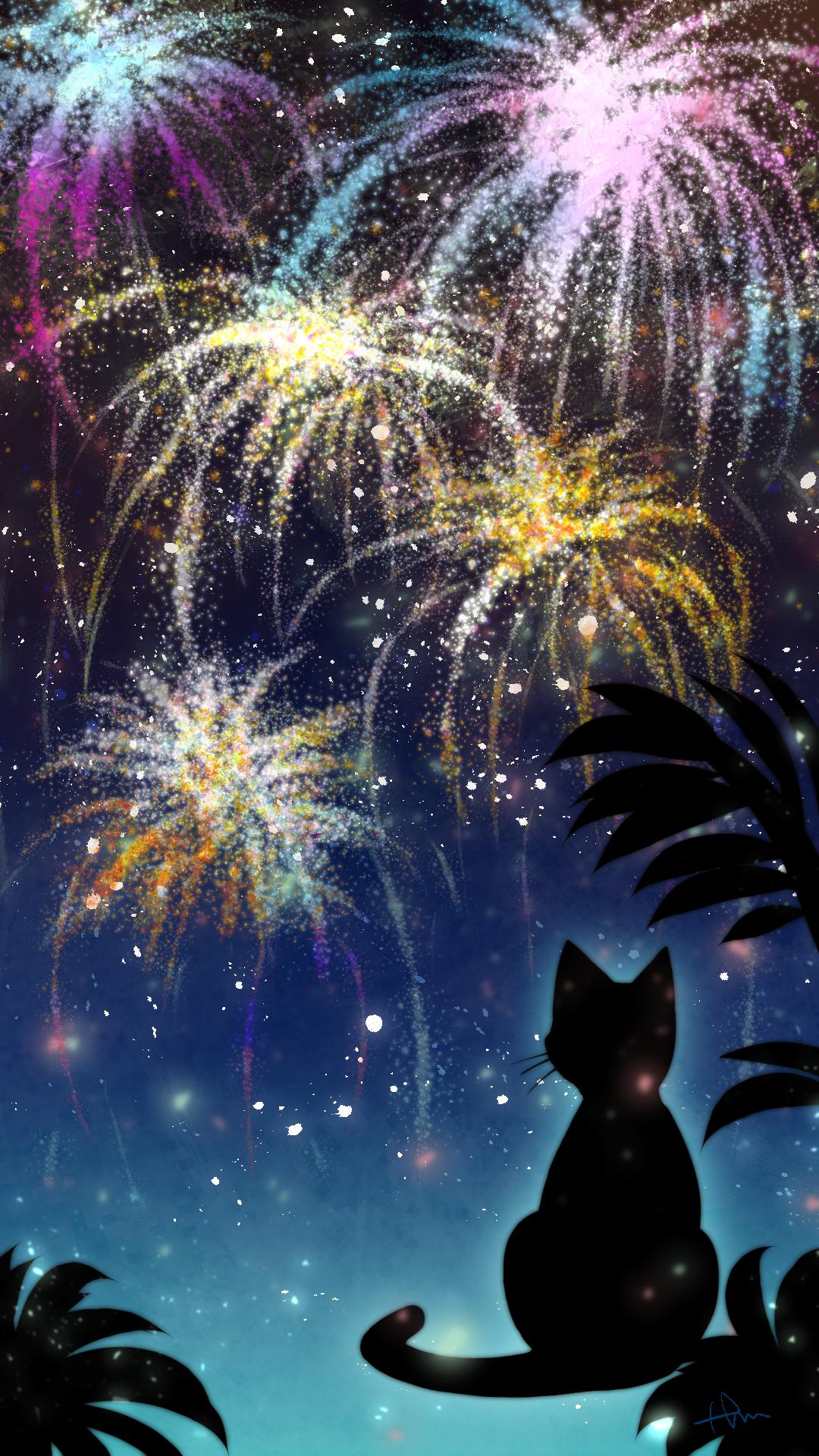スマホ用壁紙花火と猫