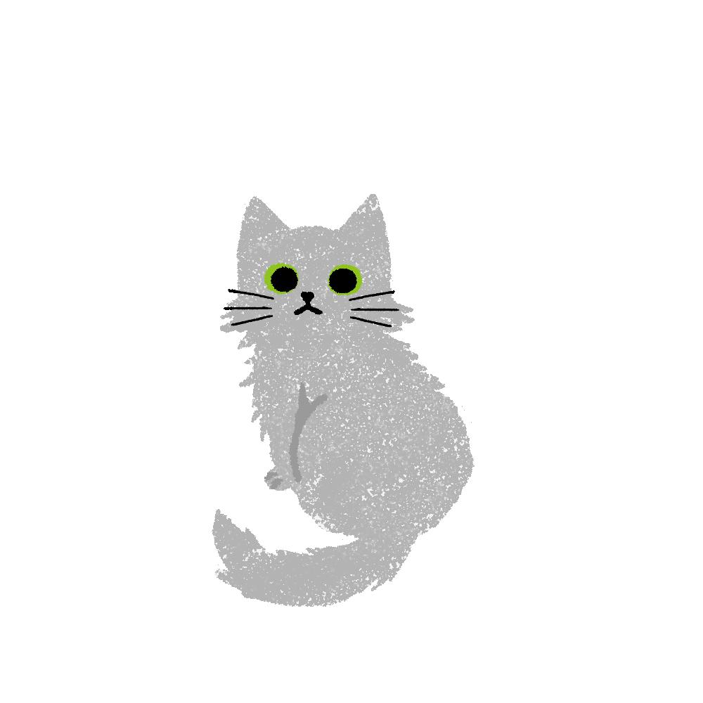 がさがさタッチふりむく猫2グレー