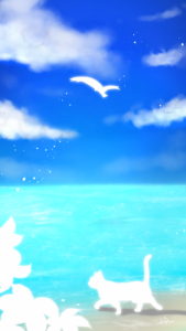 スマホ用壁紙青空と海と猫-【Wallpaper for smartphone】Blue sky, sea and cat-