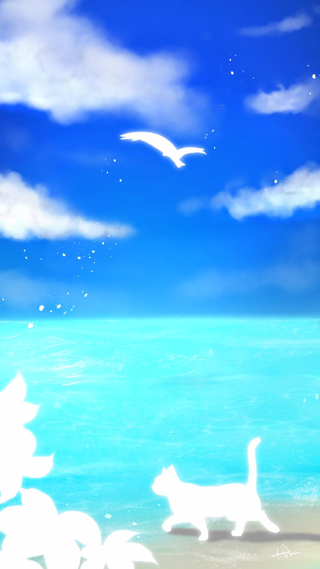 スマホ用壁紙青空と海と猫