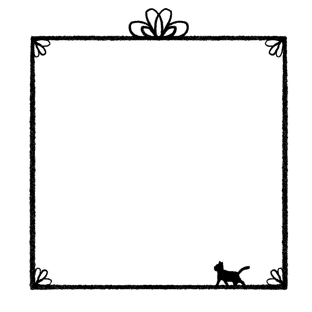 かすれ線と猫の四角フレームブラック