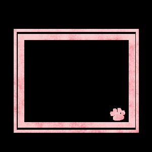 シンプルラインと猫の肉球フレームピンク-Simple line and cat's pad frame pink-