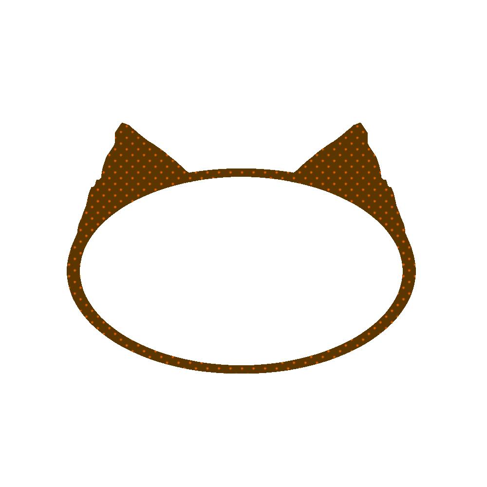 楕円の猫耳フレームブラウン×オレンジドット