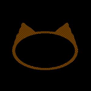 楕円の猫耳フレームブラウン×オレンジドット-Elliptic cat ear frame Brown × Orange dots-