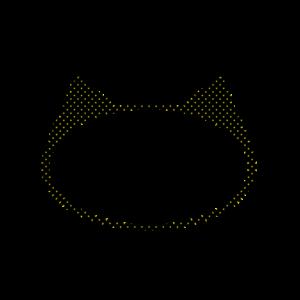 楕円の猫耳フレームブラック×イエロードット-Elliptic cat ear frame Black × yellow dot-